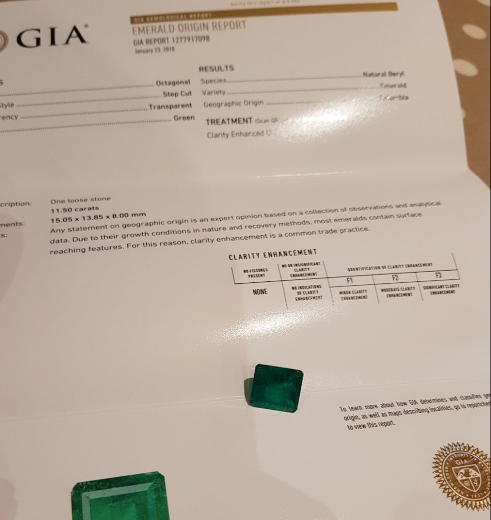 Emerald and GIA certificate