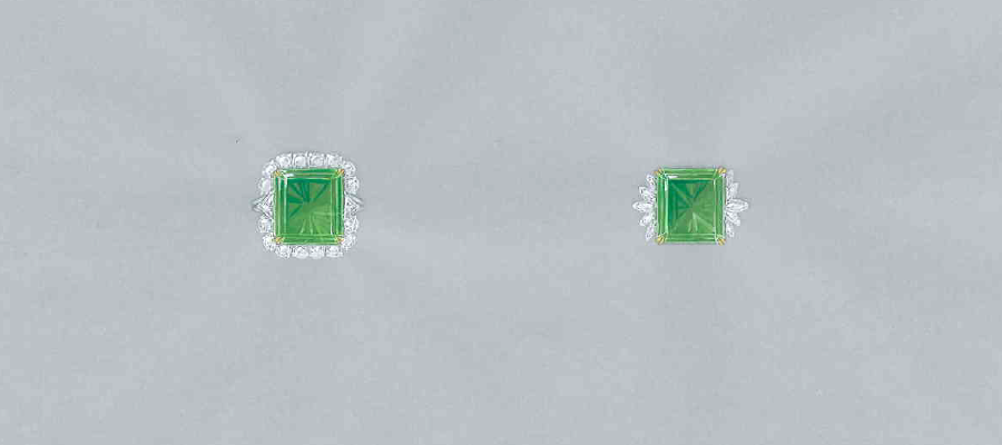 Painting of two emerald rings