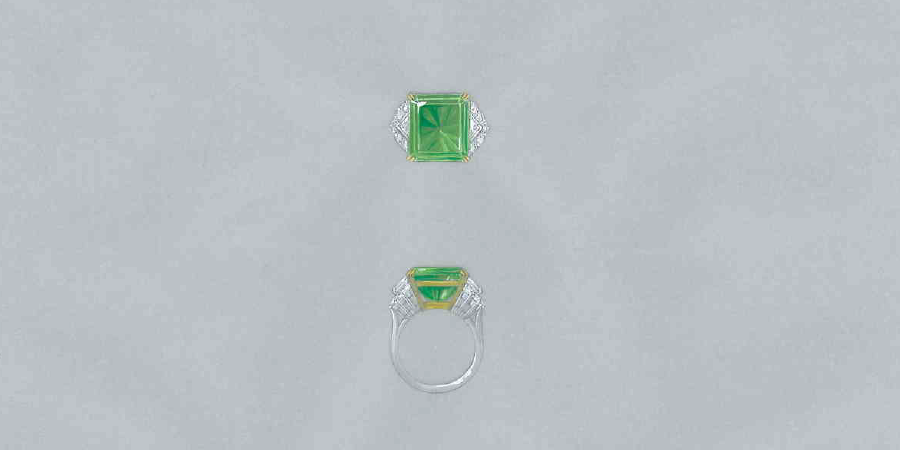 Colombian emerald ring painted design