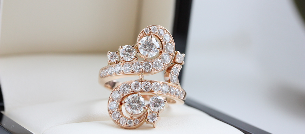 Fine diamond swirl dress ring