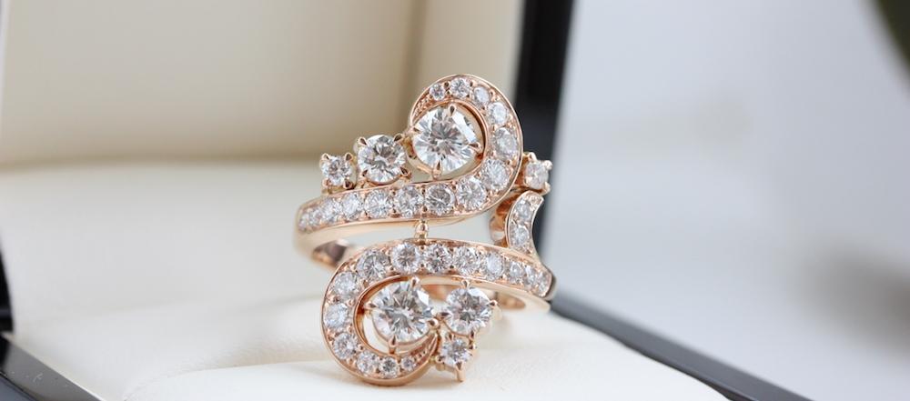 Fine diamond swirl dress ring