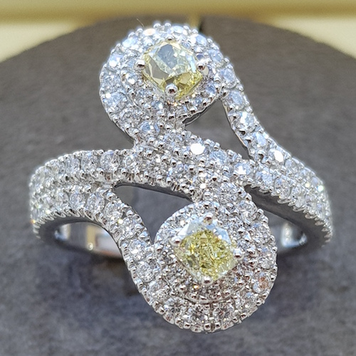 Fancy yellow diamond 'toi et moi' platinum cocktail ring