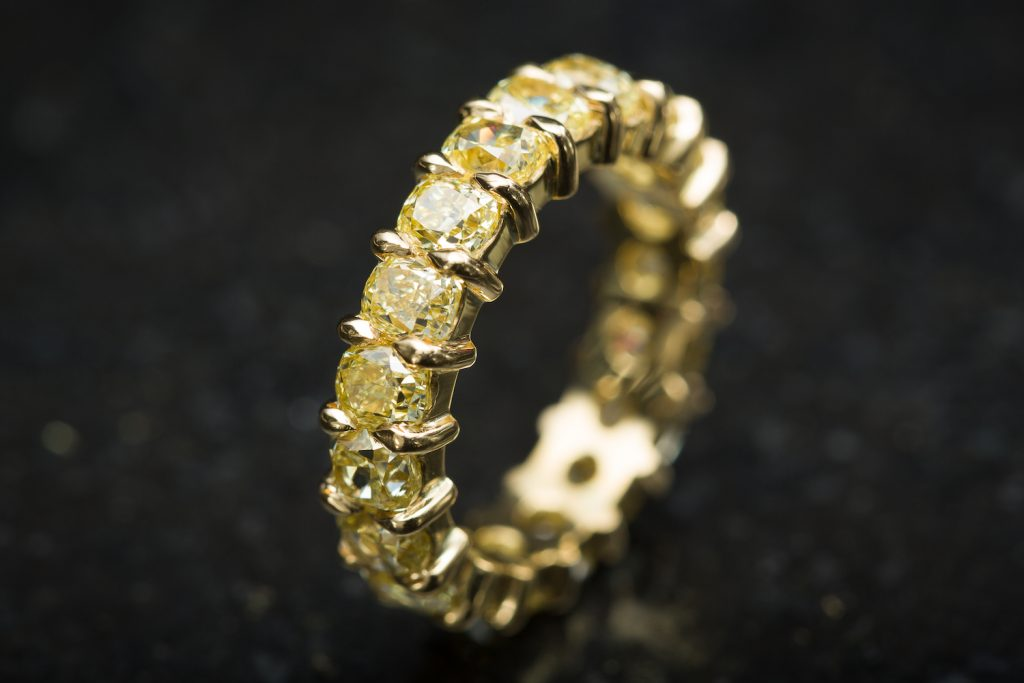 Fancy Yellow Diamond Eternity Ring, by N.J. Geddes